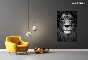 Crno bijele slike na platnu  - lav