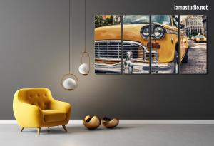 Slike na platnu iz dijelova žuti taxi